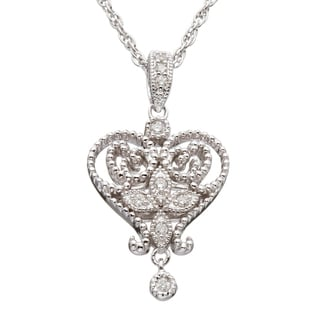 Silver 1/10ct TDW Diamond Vintage-inspired Heart Necklace (H-I, I2-I3)