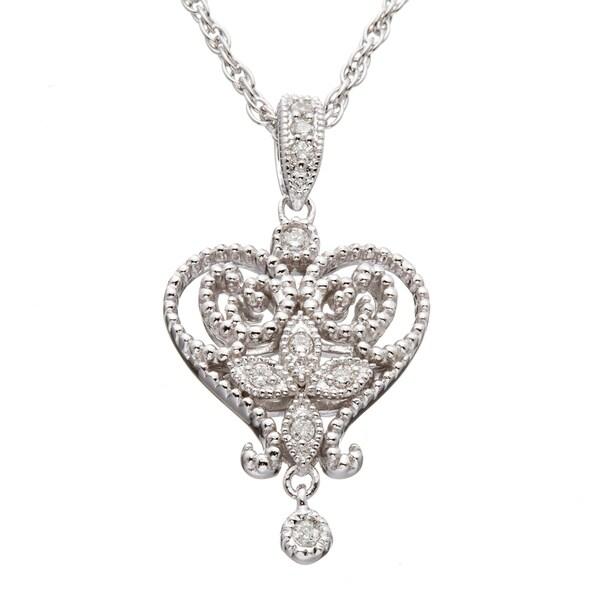 Silver 1/10ct TDW Diamond Vintage-inspired Heart Necklace (H-I, I2-I3)