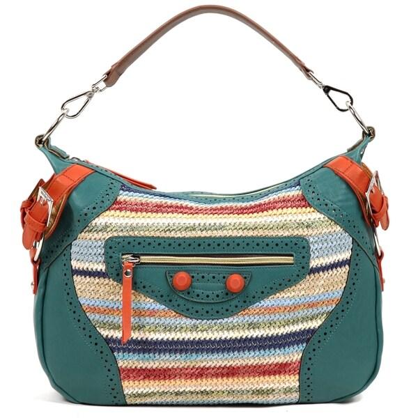 Nicole Lee 'Naysa' Rainbow Raffia Faux Leather Hobo Bag