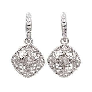 Silver 1/6ct TDW Diamond Vintage-inspired Dangle Earrings (H-I, I2)