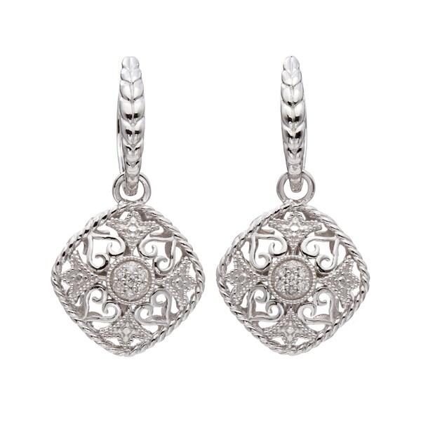 Silver 1/6ct TDW Diamond Vintage-inspired Dangle Earrings (H-I, I2)