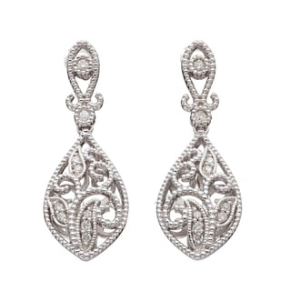 Silver 1/6ct TDW Diamond Vintage-inspired Teardrop Earrings (H-I, I2)