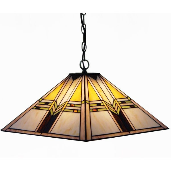 Mission Handcrafted Stained Glass Tiffany Style Hanging Lamp