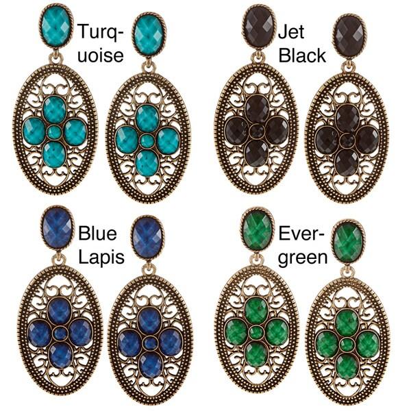 Amrita Singh Goldtone Resin Motif Dangle Earrings