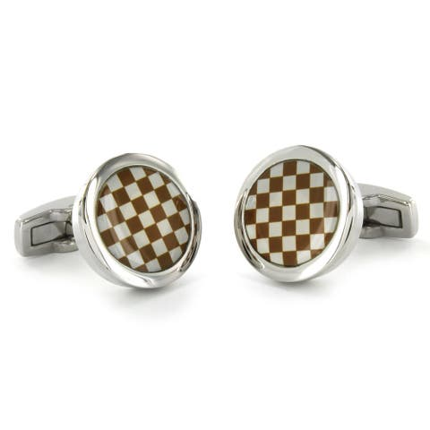 Stainless Steel Checkerboard Design Enamel Cuff Links