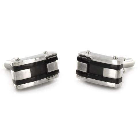 Men's Stainless Steel Black Racing Stripe Cuff Links