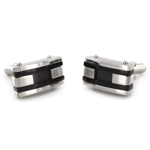 Crucible Stainless Steel Black Racing Stripe Cuff Links
