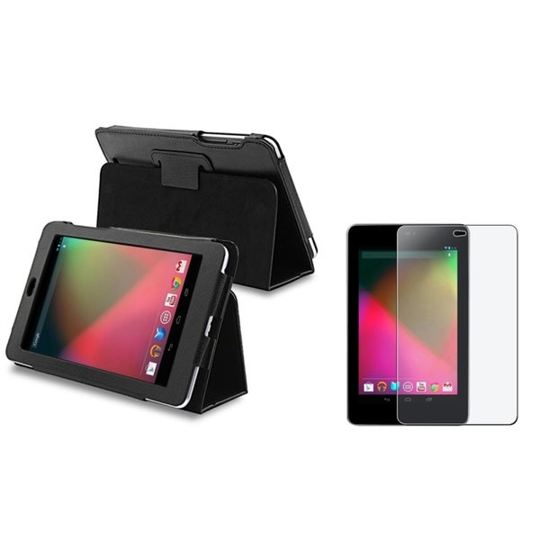 INSTEN Phone Case Cover with Stand/ Anti-glare LCD Protector for Google Nexus 7