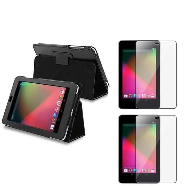 INSTEN Black Folio Leather Phone Case Cover/ Screen Protector for Google Nexus 7