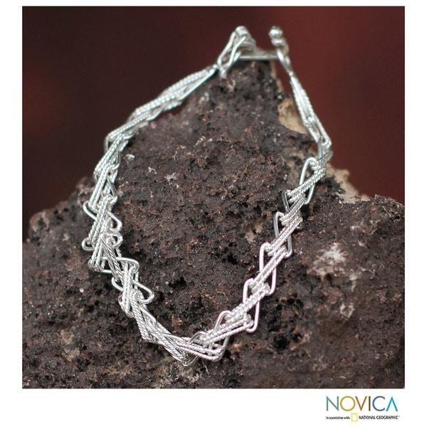 Handmade Silver 'Zigzag Lace' Link Bracelet (Peru)