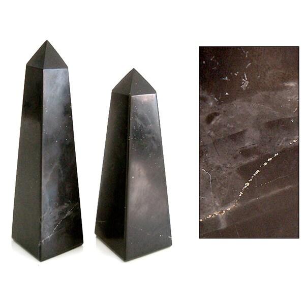 Black Towers Set of 2 Artisan Handmade Onyx Gemstone Art Powerful Decor Symbol or Paperweight Gift Obelisk Sculptures (Peru)