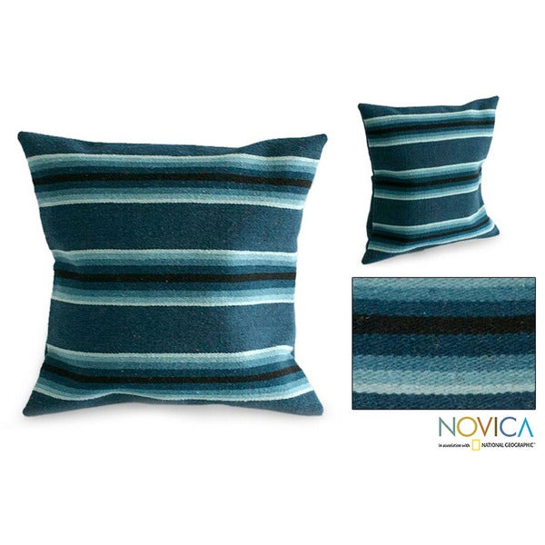 Wool 'Blue Trend' Cushion Cover (Peru)