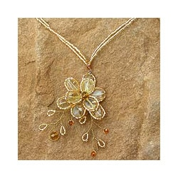 Citrine Handmade 'Camellia' Flower Necklace (Thailand)