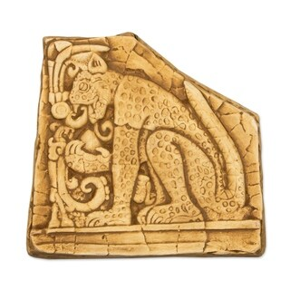 Ceramic 'Mighty Maya Jaguar in Ochre' Wall Plaque (Mexico)