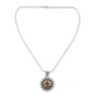 Handmade Sterling Silver Star of Kolkata Citrine Pendant Necklace (India) - Yellow