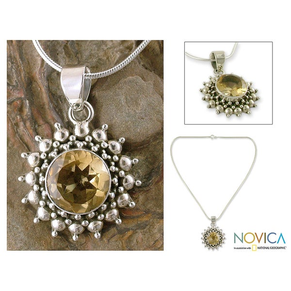 Handmade Sterling Silver Star of Kolkata Citrine Pendant Necklace (India)