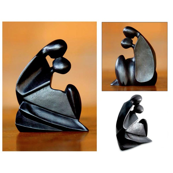 Handcrafted Suar Wood 'First Kiss' Sculpture, Handmade in Indonesia