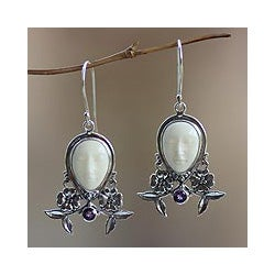 Handmade Sterling Silver 'Mother Earth Sleeps' Amethyst Earrings (Indonesia)
