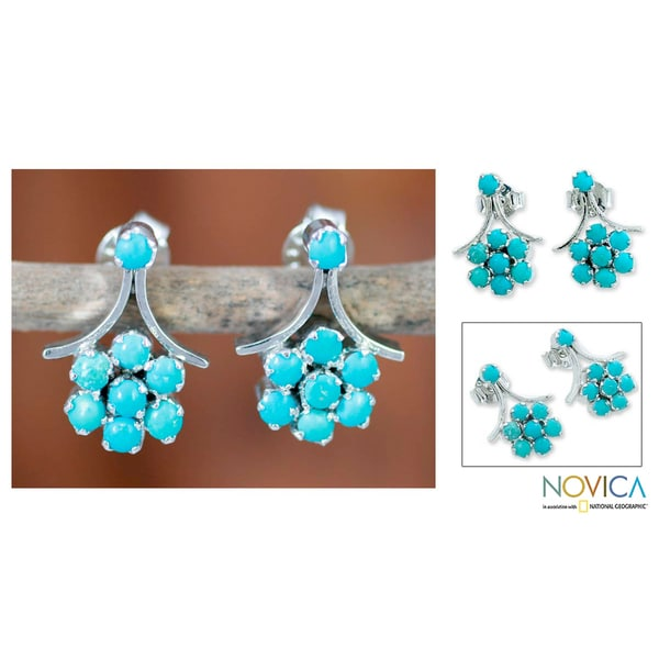 Sterling Silver 'Blue Daisies' Calcite Earrings (India)