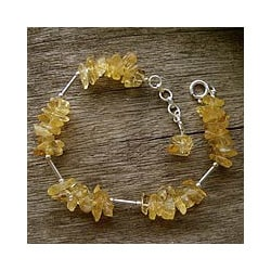 Handmade Sterling Silver 'Golden Sunrise' Citrine Bracelet (India)