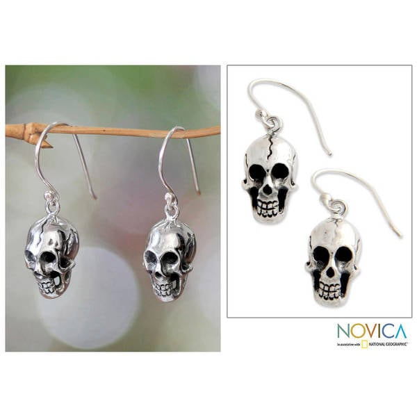 Handmade Sterling Silver 'Immortal Skull' Earrings (Indonesia)