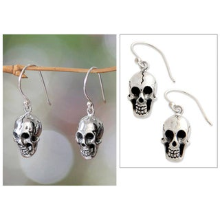 Handmade Sterling Silver 'Immortal Skull' Earrings (Indonesia)