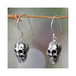 Sterling Silver 'Immortal Skull' Earrings (Indonesia)
