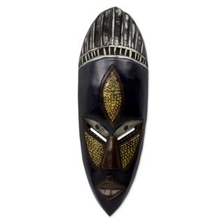 Handcrafted Sese Wood Brass 'Densu Priest' African Tribal Mask (Ghana)