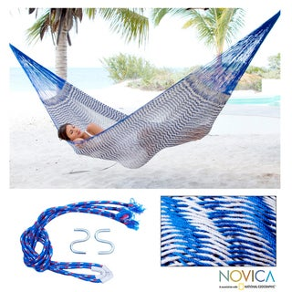 Handmade Ultra Large Cotton 'Ocean Waves' Hammock (Mexico)