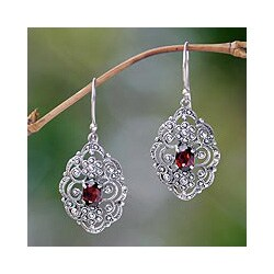 Handmade Sterling Silver 'Kuta Princess' Garnet Earrings (Indonesia)