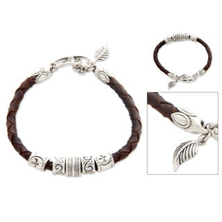 Handmade Sterling Silver 'Angel of Nature' Leather Bracelet (Indonesia)