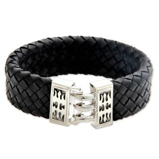 Handmade Sterling Silver Men's 'Tribal Warrior' Leather Bracelet (Indonesia)