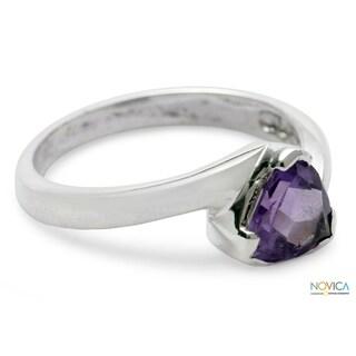 Sterling Silver 'Scintillating Jaipur' Amethyst Ring (India)