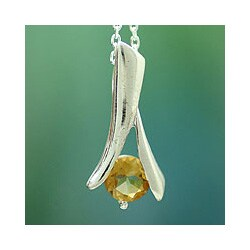 Handmade Sterling Silver 'Chennai Sun' Citrine Necklace (India)