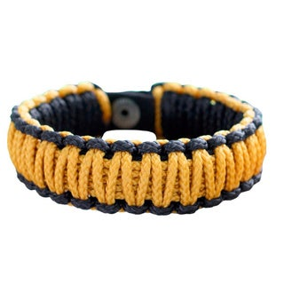 Polyester Men's 'Amina In Golden Black' Wristband Bracelet (Ghana)