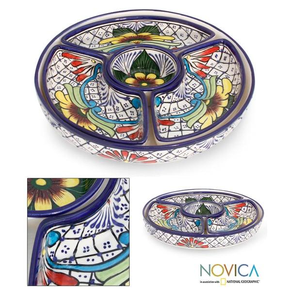 Handmade Ceramic 'Daisy Stars' Talavera Appetizer Bowls (Mexico)
