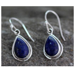 Handmade Sterling Silver Blue Teardrop Lapis Lazuli Hook Earrings (India)