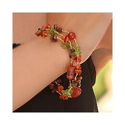 Multi-gemstone Handcrafted 'Exciting Times' Beaded Bracelet (Thailand)