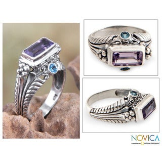 Ornate Sea Temple Handcrafted Artisan Rectangular Faceted Amethyst with Blue Topaz 925 Sterling Silver Cocktail Ring (Indonesia)