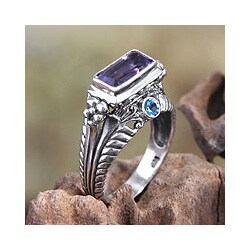 Handmade Ornate Sea Temple Artisan Rectangular Faceted Amethyst with Blue Topaz 925 Sterling Silver (Indonesia)