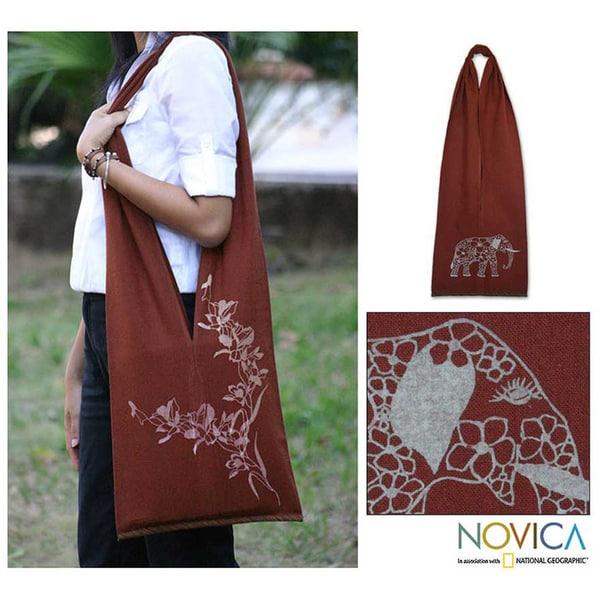 Cotton 'Nature Is Flowers' Medium Shoulder Bag (Thailand)