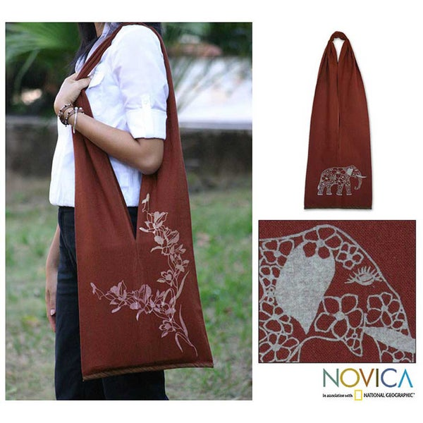 Handmade Cotton 'Nature Is Flowers' Medium Shoulder Bag (Thailand)