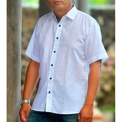 Men's Cotton 'White Lombok' Shirt (Indonesia)