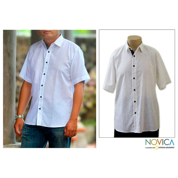 Handmade Men's Cotton 'White Lombok' Shirt (Indonesia)