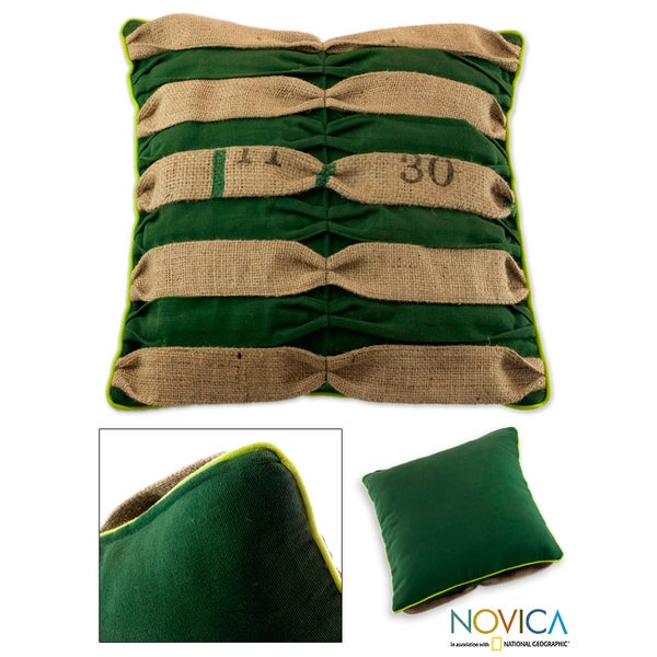 Handcrafted Cotton and Jute 'Eco-fusion' Cushion Cover (Guatemala)