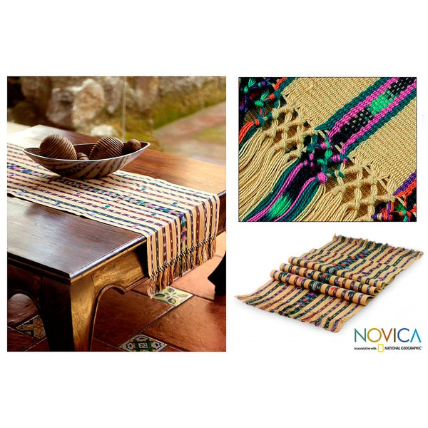 Handcrafted Cotton 'Gifts of the Earth' Table Runner (Guatemala)