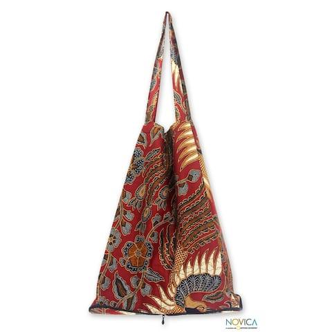 Large Cotton 'Surakarta Legacy' Batik Foldable Tote Bag (Indonesia)