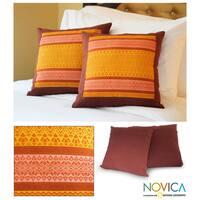 Handmade Cotton 'Thai Sunshine' Cushion Covers (Set of 2) (Thailand)