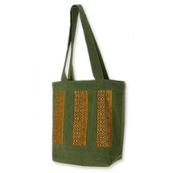 Cotton 'Golden Lanna' Medium Tote Bag (Thailand)
