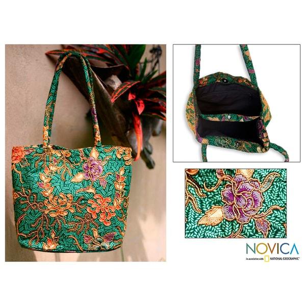 Medium Cotton 'Princess Art' Beaded Batik Tote Bag (Indonesia)